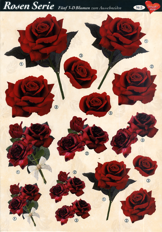 Hearty Crafts 3D Decoupage Sheets A4, 6 Pcs Roses 05 Cutting Sheets