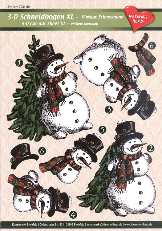 Hearty Crafts 3D Decoupage, 6 Pcs, Snowman Xl Cutting Sheets