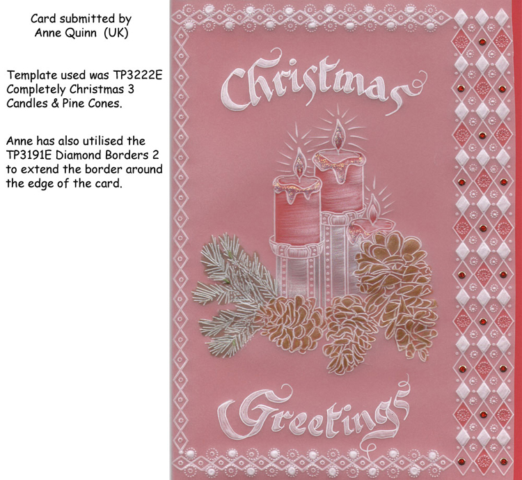 ParchCraft Australia Easyemboss Completely Christmas 3 Candles & Pine Cones