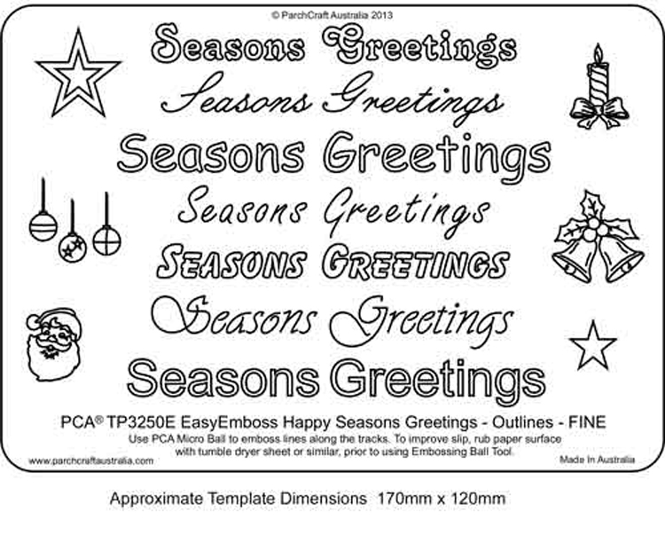 ParchCraft Australia Easy Emboss 'seasons Greetings' Outlines Fine