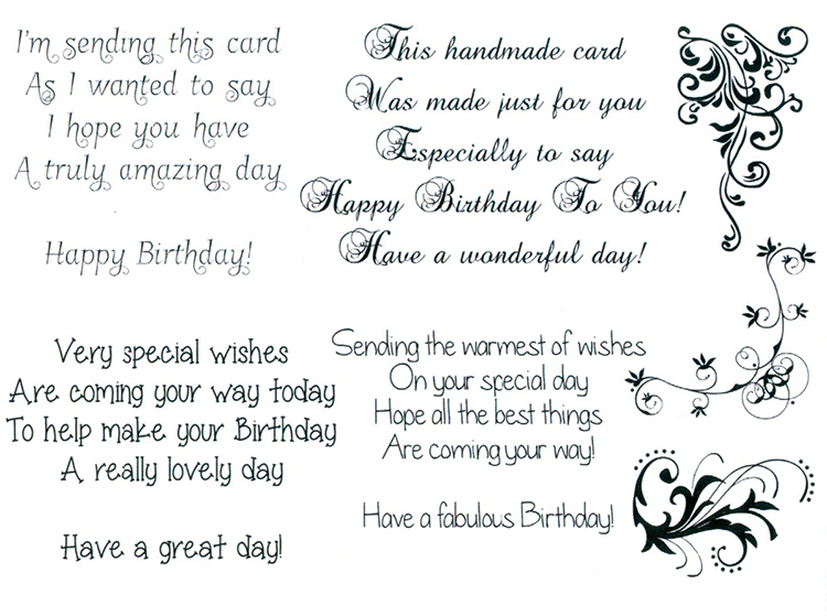Sentimentally Yours - Clear Stamps -  Birthday Verses