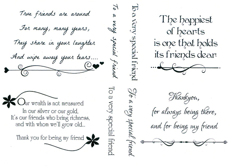 Creative Expressions Sentimentally Yours Clear Stamp - Friendship Verses