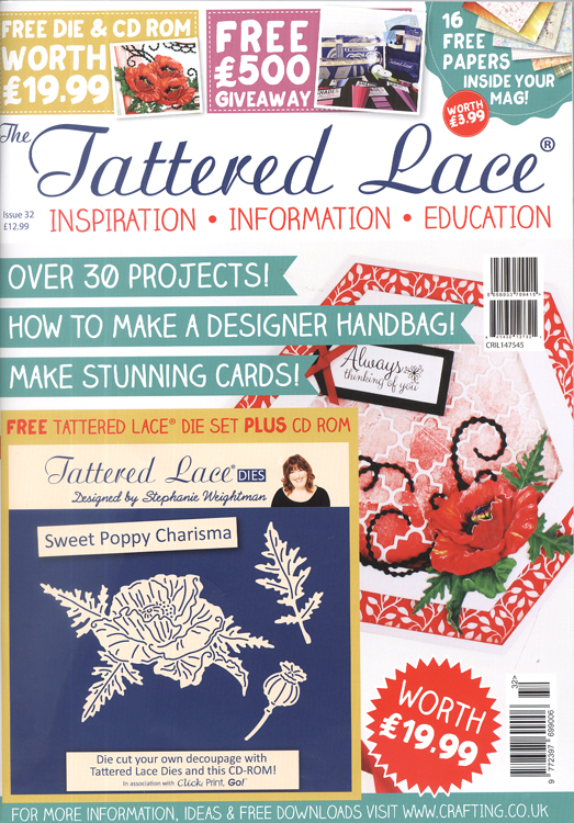 Ecstasy Crafts Tattered Lace Magazine #32 (includes Free Die Set Plus Cd Rom)