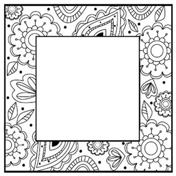 Creative Expressions Foam Mounted Cling Stamps - Zentangles Flower Square