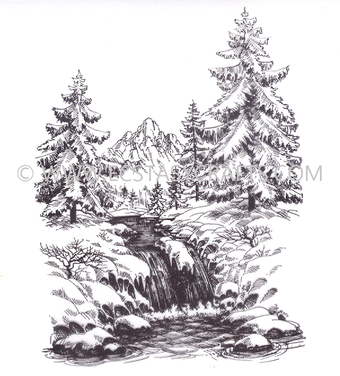 Ecstasy Crafts Clear Stamp - Winter Time - Winter Waterfall