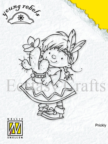 Nellie's Choice Clear Stamps - Young Rebels - Indian Girl With Cactus