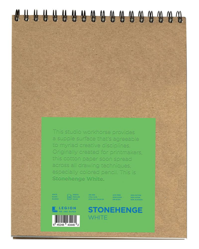 "Stonehenge® Versatile Artist Journal 11"" x 14"": White/Ivory, Pad, 15 Sheets, 11"" x 14"", (model L21-SPR250WH1114), price per each"