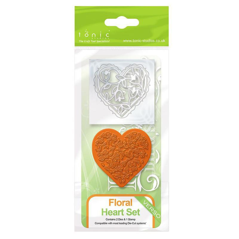 Rococo Die & Stamp Set - Floral Heart - 1045e