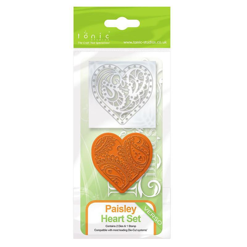Rococo Die & Stamp Set - Paisley Heart - 1046e