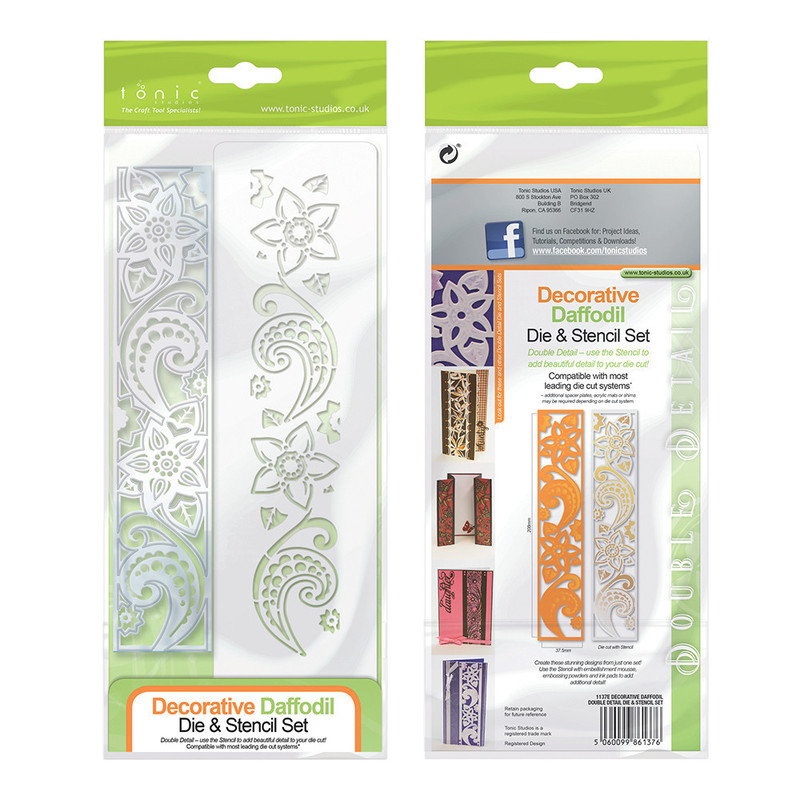 Double Detail Die and Stencil - Decorative Daffodil - 1137E