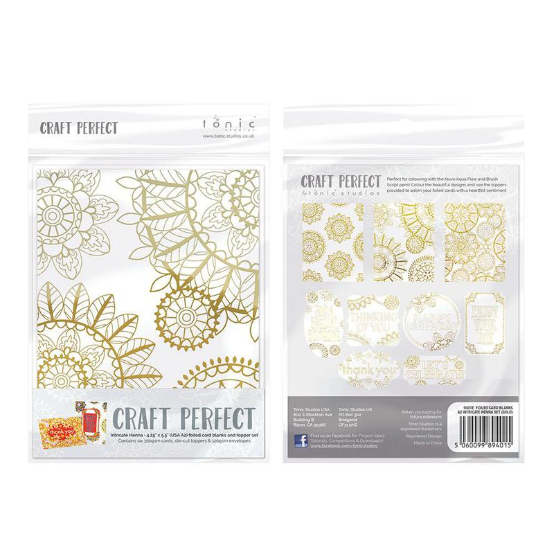 Foiled Card Blanks - Intricate Henna Set (Gold) - 9401E