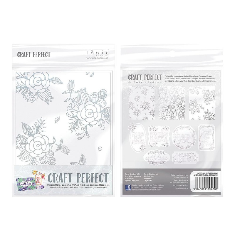 Craft Perfect - Foiled Card Blanks - Delicate Floral Set - Silver - 9400e