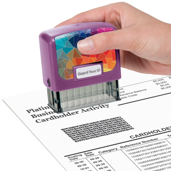 Guard Your ID Medium Stamp W/Refill PP Mosaic