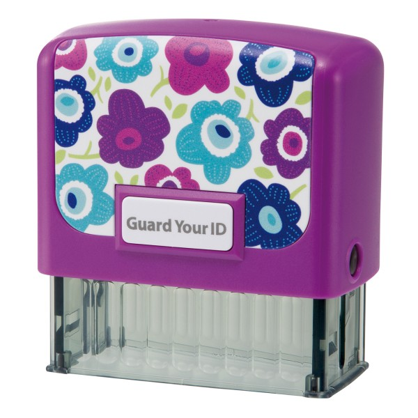 Guard Your ID Medium Stamp - Purple Flower