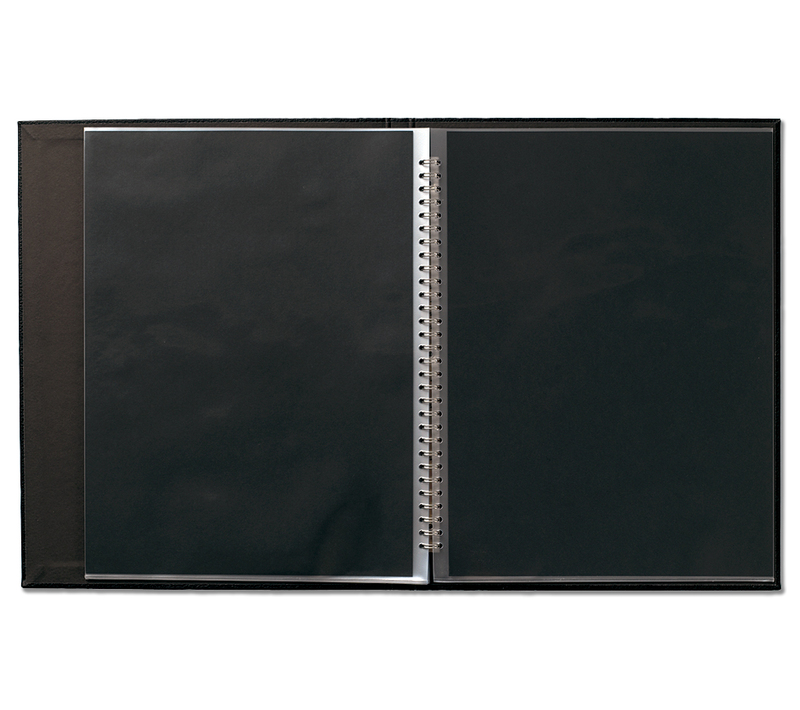 "Modebook 149 Spiral Book Size: 10"" x 8"" - Black with 12 Cristal Laser Pages"