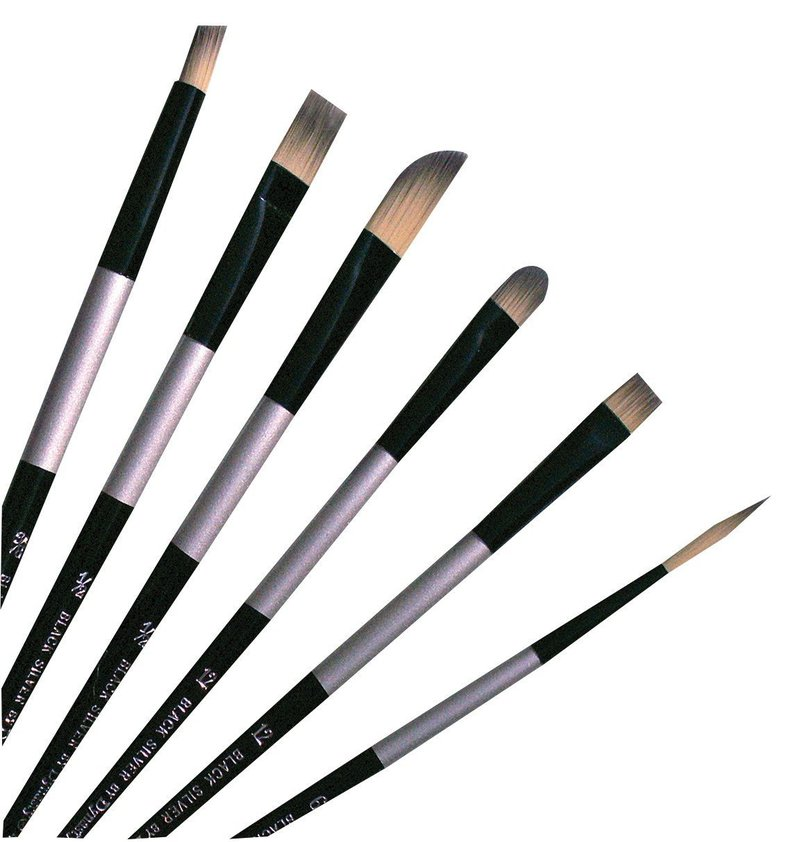 Dynasty® Black Silver® Blended Synthetic Oil/Acrylic Brush Round 2: Long Handle, Bristle, Round, Acrylic, Oil