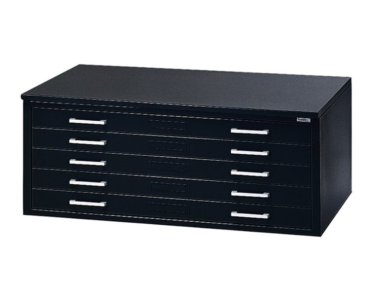 "Mayline C-File: 5 Drawers, Black, 46 3/4""W x 35 3/8""D x 15 3/8""H"