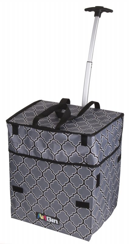 Artbin Rolling Tote, Lightweight Collapsible Craft Bag- Black And Gray