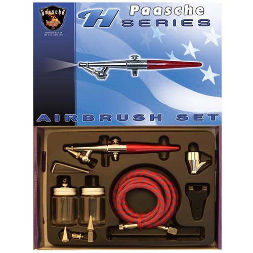 Paasche Single Action Airbrush Kit w/ Anodized Aluminum Handle - H-202S