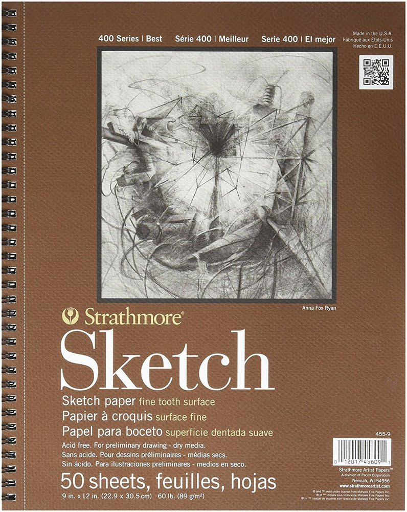 "Strathmore® 400 Series 9"" x 12"" Wire Bound Sketch Pad: Wire Bound, White/Ivory, Pad, 50 Sheets, 9"" x 12"", 60 lb, (model ST455-9), price per 50 Sheets pad"