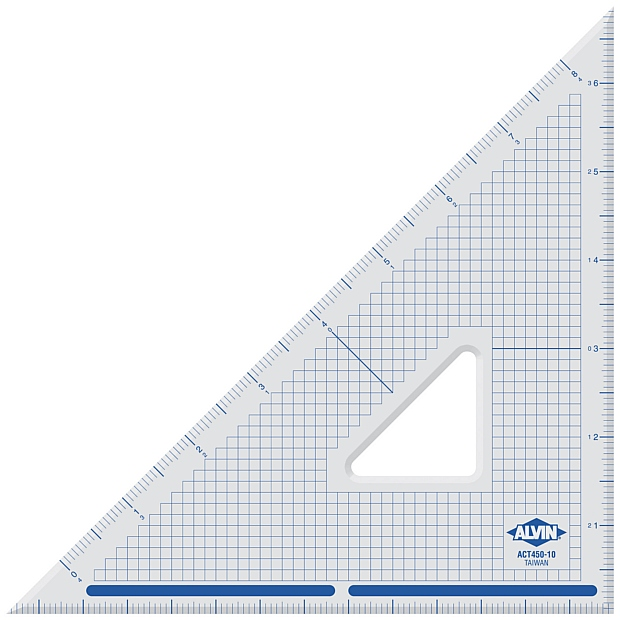 "Alvin® 14"" Cutting Edge Triangle 45°/90°: 45/90, Clear, Acrylic, 14"", Triangle"