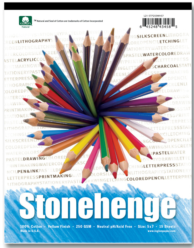 "Stonehenge Versatile Artist Papers: Pad, 15 Sheets of White, 250gsm, 8"" x 8\"""