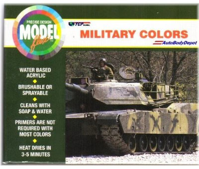 Modelflex military: Forest Green, Olive Drab, European Dark Green, Armor Sand, Field Drab, Medium Green, Camouflage Gray.