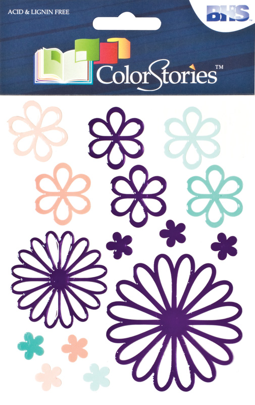 Blue Hills Studio™ ColorStories™ Glossy Embossed Daisy Stickers Purple