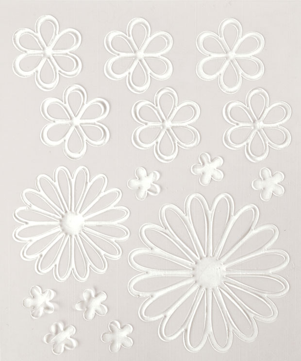 Blue Hills Studio ColorStories Glossy Embossed Daisy Stickers: White