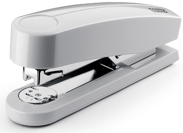 Dahle B4 Compact Flat Clinch Executive Stapler: Grey, 2 3/8 Inch Throat Depth