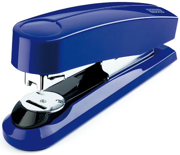 Dahle B4 Compact Flat Clinch Executive Stapler: Blue, 2 3/8 Inch Throat Depth