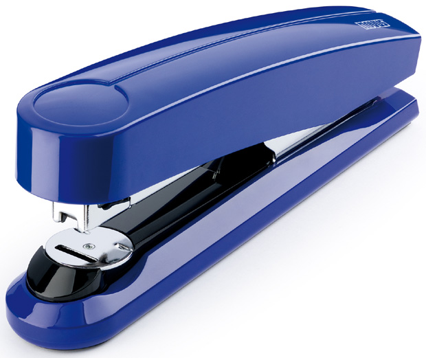 Dahle B5 Flat Clinch Executive Stapler: Blue, 3 5/8 Inch Throat Depth
