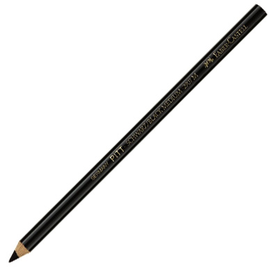 Faber-Castell PITT Oil Free Black Charcoal Pencil: Medium, Pack of 12