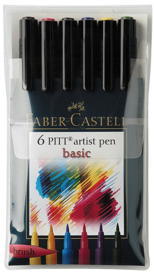 Faber-Castell PITT Artist Pen Basic Color: Wallet of 6 pens