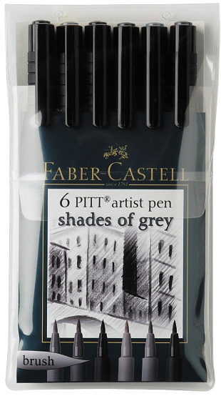 "Faber-Castell PITT Artist Pen ""Shades Of Grey"" Color: Wallet of 6 pens"