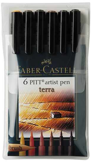 "Faber-Castell PITT Artist Pen ""Terra"" Earth Color: Wallet of 6 pens"