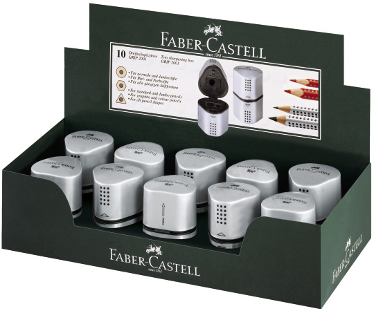 Faber-Castell GRIP 2001 Sharpening Box: Silver, Pack of 10