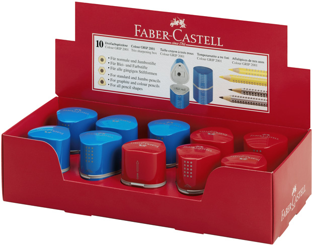 Faber-Castell GRIP 2001 Sharpening Box: Red & Blue Assorted