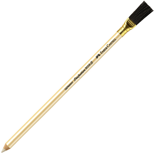 Faber-Castell 7058B Perfection Eraser Pencil with Brush: Pack of 12