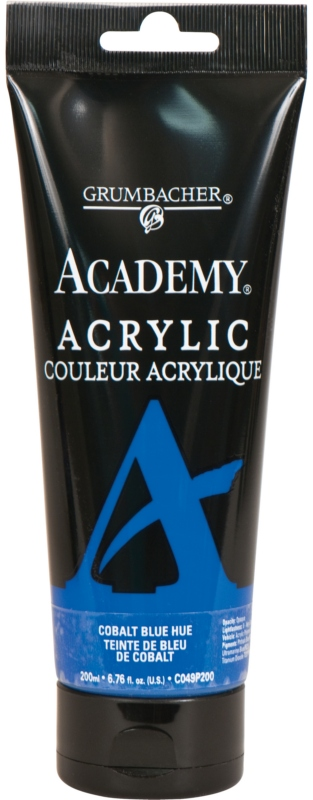 Grumbacher® Academy® Acrylic Paint 200ml Cobalt Blue Hue: Blue, Tube, 200 ml, Acrylic