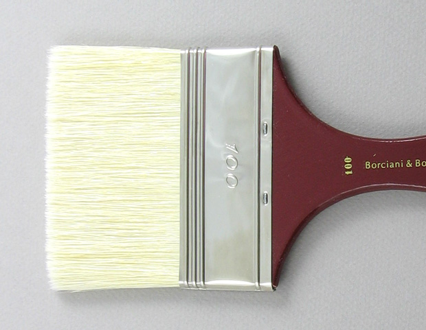 Hog Bristle 200 Wide Flat # 100 Brush: Head Shot
