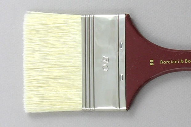 Hog Bristle 200 Wide Flat # 80 Brush: Head Shot