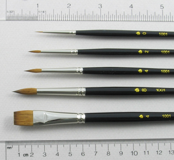 Introductory Set of 5 Kolinsky Sable Art Brushes: Head Shot