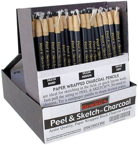 Alvin General's® Peel & Sketch™ Charcoal Pencils Paper Wrap Display