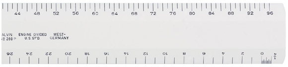 Alvin Series 280 White Plastic Flat Scale: Architectural 12 Inches