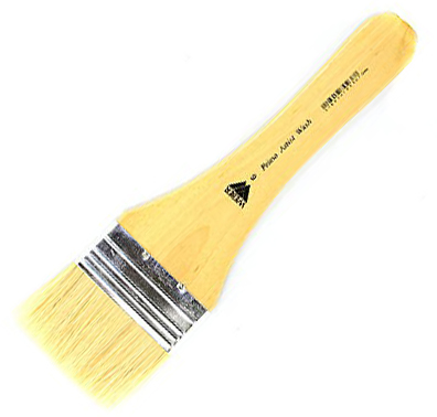 Prima White Bristle Wash with Metal Ferrule: Short Handle, Size 6