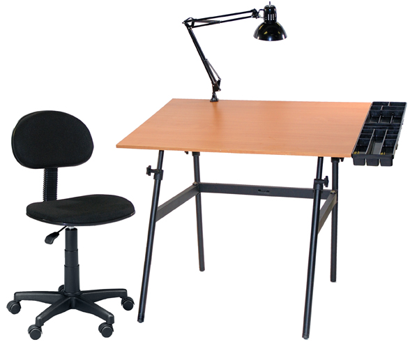 Black with Cherrywood Top, Tray Lamp and Desk Hegiht Chair: Model # U-DS14042BW