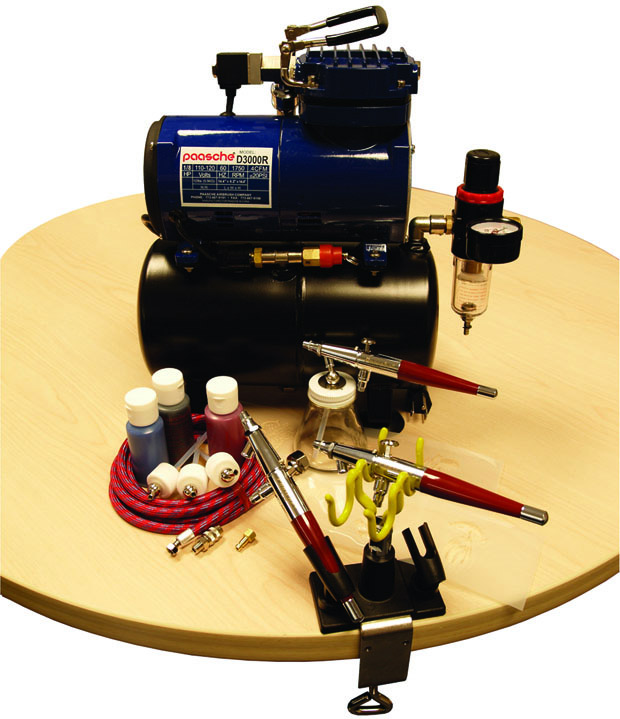 Paasche Airbrush Paasche PTS-3S Professional Tattoo Set with D3000R Air Compressor (1/8 hp.)