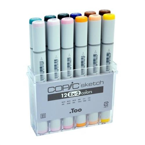 Copic® Sketch 12-Color Marker Set EX-2: Multi, Double-Ended, Alcohol-Based, Refillable, Broad Nib, Brush Nib