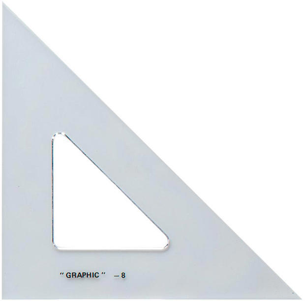 Alvin Academic Transparent Triangle: 45°/90°, 10""